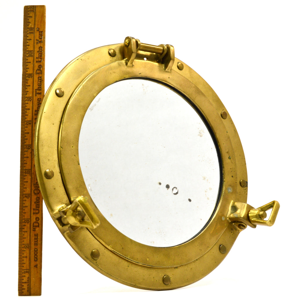Vintage BRASS PORTHOLE MIRROR Maritime NAUTICAL Ship Captain WALL ...
