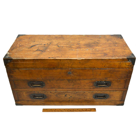 Antique DOVETAIL WOOD MACHINIST CHEST Sexy Old 2-DRAWER TOOL BOX Brass Hardware