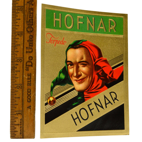 Vintage CIGAR BOX LABEL Brand New/Never Used HOFNAR 'TORPEDO' Jester/Joker RARE!