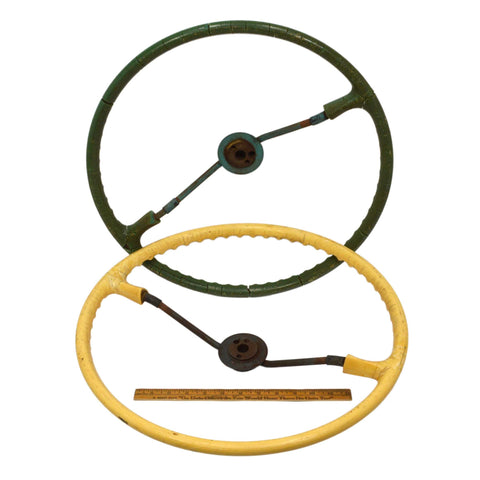 Vintage FARM TRACTOR STEERING WHEEL Lot of 2 OLD WHEELS Green & Yellow STEAMPUNK