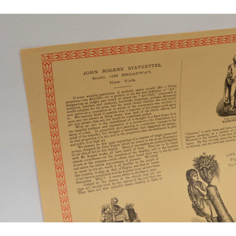 "Vintage ""JOHN ROGERS STATUETTES"" ADVERTISING PRINT 17x22.5 WENTWORTH PRESS, 1971"
