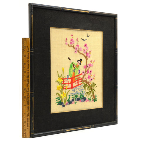 Vintage CHINESE or JAPANESE NEEDLEPOINT WALL HANGING Matted & Framed GEISHA GIRL