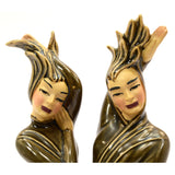 "Vintage CERAMIC ARTS STUDIO ""FIRE"" FIGURINES 11.5"" Man & Woman HIS & HER Brown"