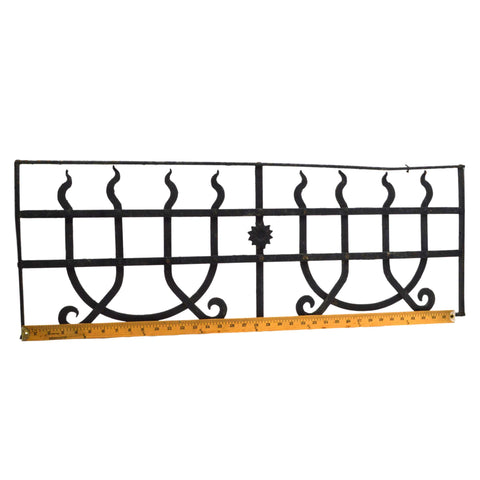 Antique WROUGHT IRON WINDOW GRILL 13x37 Door Insert GOTHIC/WITCHCRAFT MOTIF Rare
