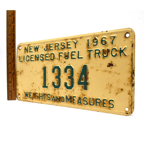 "Vintage 1967 ""COAL TRUCK"" N.J LICENSE PLATE No. 1334 ""WEIGHTS AND MEASURES"" Rare"