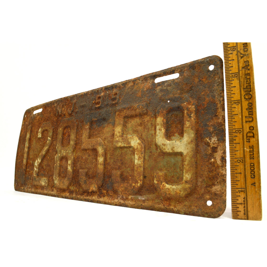 "Antique NEW JERSEY LICENSE PLATE ""N.J.-1919"" Number ""128559"" Rusty 99 YEARS OLD!"