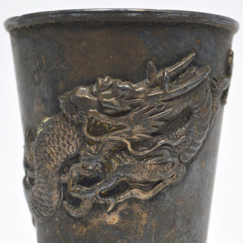 VTG/Antique ASIAN HALLMARKED PEWTER CUP Metal Shot Glass EMBOSSED ORNATE DRAGON!