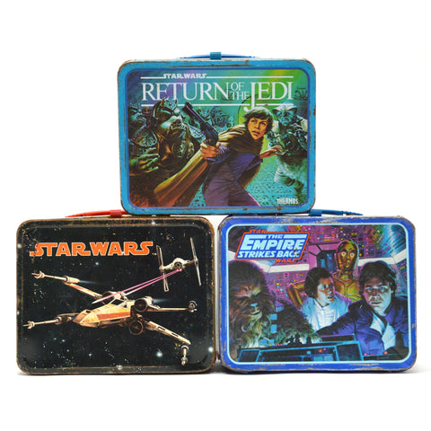 Vintage STAR WARS LUNCH BOX Lot of 3 Original 1977-1983 METAL LUNCHBOXES Seeley