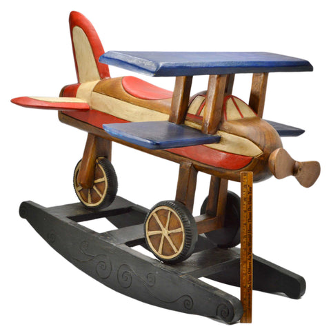 Vintage WOOD ROCKING PLANE TOY Kid-Size AIRPLANE ROCKER Handmade, Japan c1980-90