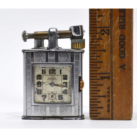 "Antique MONROE ""LIFT-ARM"" LIGHTER w/ Working BANNER ""SHOCK PROOF"" CLOCK Art Deco"