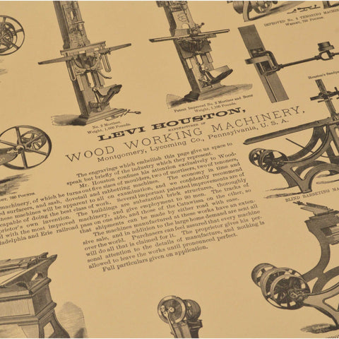 "Vintage ""WOOD WORKING MACHINERY"" ADVERTISING PRINT 17x22.5 WENTWORTH PRESS, 1971"
