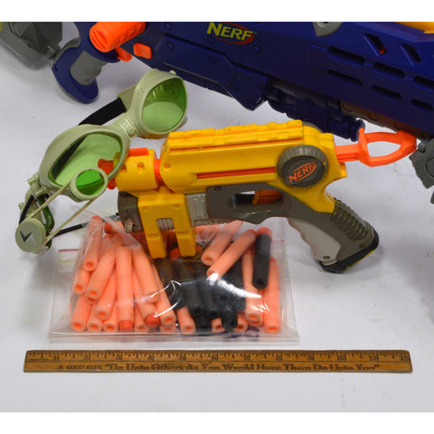NERF LOT; LONGSHOT CS-6 BLASTER **ISSUE** + C-307a PULL-BACK PISTOL + 30 Darts