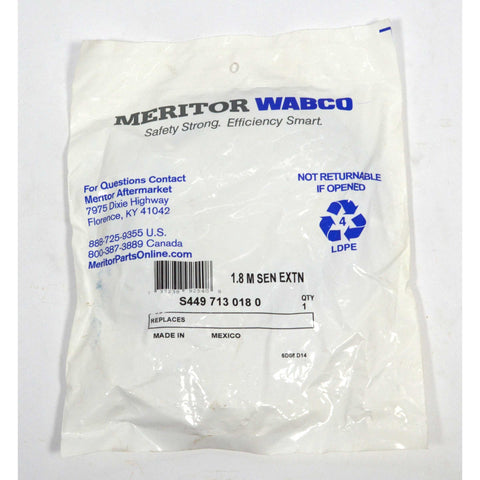"Brand New in Bag MERITOR WABCO ""1.8M SEN EXTN"" No. S49-713-018-0 FACTORY SEALED!"
