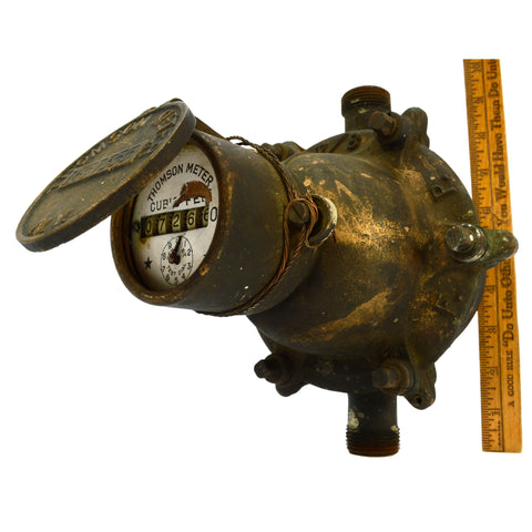 Antique BRASS/BRONZE THOMSON WATER METER #1657355 w/ Porcelain Dial BROOKLYN, NY