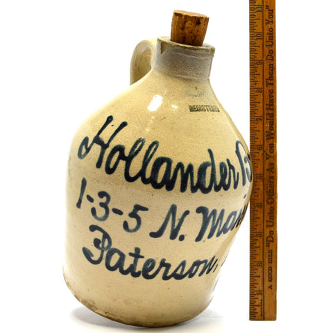 "Antique STONEWARE WHISKEY JUG 9"" Cobalt Script HOLLANDER BROS PATERSON, NJ Rare!"
