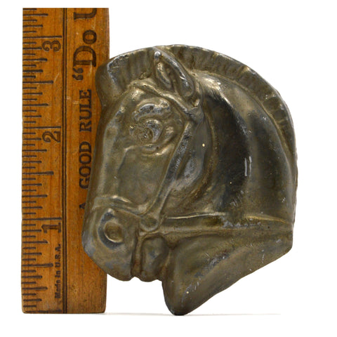 "VTG/Antique BRASS-BRONZE HORSE-HEAD PAPERWEIGHT 3"", 12.8 oz. Charm TRINKET Decor"
