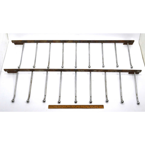 Vintage HEAVY-DUTY STEEL COAT RACKS Lot of 2, each w/ 9-RODS/HOOKS Wall Mounted