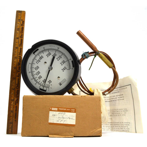 "New in Box! WEKSLER ""FILLED SYSTEM DIAL THERMOMETER"" No. 412-D (4.5"") w/ 5' Line"