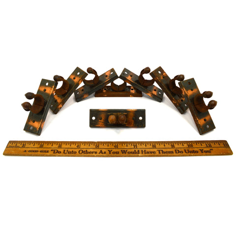 Antique POOL CUE STICK RACK CLIPS Lot of 8 Salvaged Hardware WOOD & STEEL c.1914