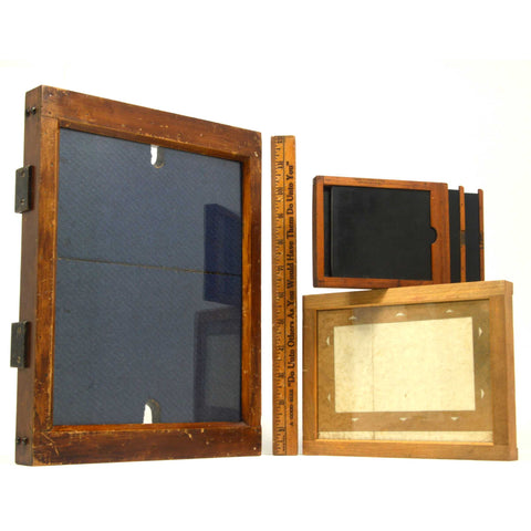 "Antique LARGE 8X10 PRINTING FRAME + KODAK ""MASKIT"" & #3 PLATE HOLDER 3-Piece Lot"