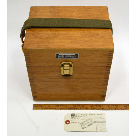 Vintage KEUFFEL ESSER K&E WOOD BOX Finger-Jointed TRANSIT CASE Neat Latch/Strap!