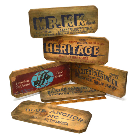 Antique FRUIT BOX LABEL Lot of 6 WOOD & PAPER LABELS Salvaged Crate Advertising