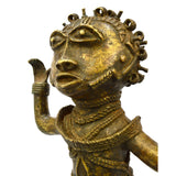 "Antique AFRICAN BENIN BRASS/BRONZE STATUE Huge! 24"" 19TH C. REPLICA Heavy 38 lbs"