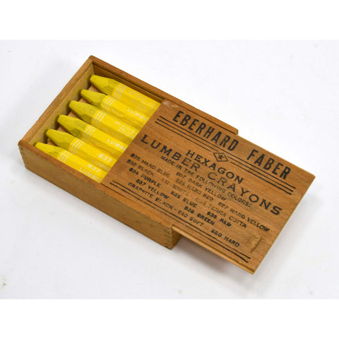 "Vintage EBERHARD FABER ""HEXAGON LUMBER CRAYONS"" in ORIGINAL WOOD BOX #837 Yellow"