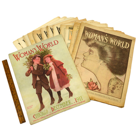 "Antique ""WOMAN'S WORLD"" BACK-ISSUE MAGAZINE Lot; 14 Issues from 1908-1911 Rare!!"