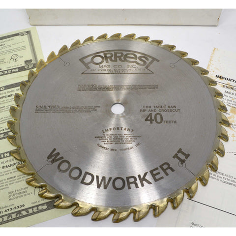 "New (Open Box) ""WOODWORKER II"" Carbide Tipped 10"" SAW BLADE by FORREST MFG. CO."