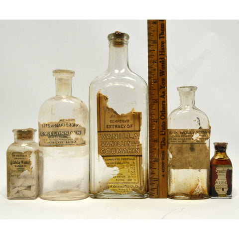 Antique BOTTLE LOT OF 10 MEDICINE-CURES Paper Label & Contents APOTHECARY / DRUG
