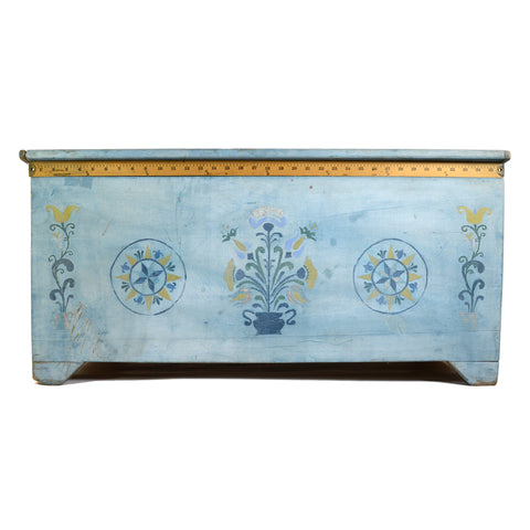 VTG/Antique HAND-PAINTED BLANKET CHEST Folk Art Box BABY BLUE TRUNK Floral Motif