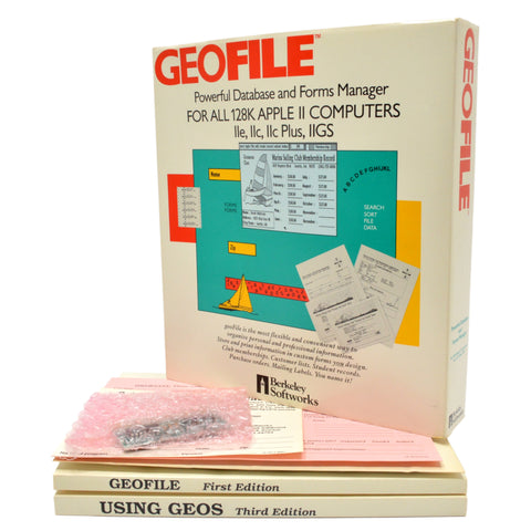 "In Box! ""GEOFILE DATABASE & FORMS MANAGER"" Software FOR 128K APPLE II COMPUTERS"