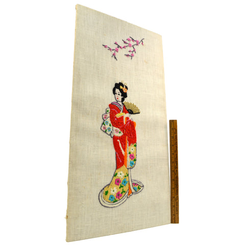 Vintage CHINESE or JAPANESE NEEDLEPOINT WALL HANGING Geisha w/ Fan FLOWER BRANCH