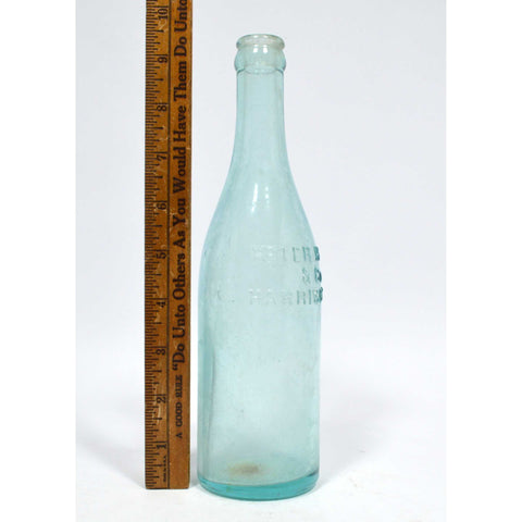 "Antique GLASS SODA-BEER BOTTLE 13 oz., Aqua ""PETER HAUCK & CO. HARRISON, N.J."""