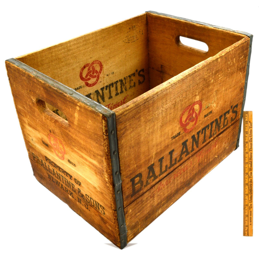 Vintage BALLANTINE'S WOODEN CRATE Wood BEER BOX Metal Wrapped BALLANTINE & SONS