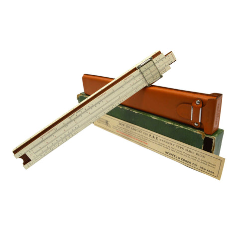 Vintage KEUFFEL & ESSER SLIDE RULE #N4053-3 c1937 in LEATHER CASE + Paper Insert