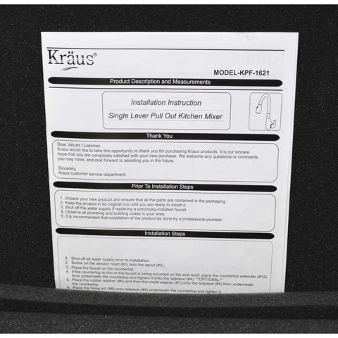 "New (Open Box) KRAUS FAUCET No. KPF-1621-CH ""SINGLE LEVER SINK MIXER"" Pull-Down"