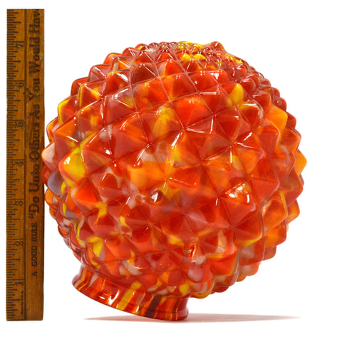"Vintage CZECH GLASS LAMP SHADE Multicolor Hobnail 6.5"" END OF DAY GLOBE Art Deco"