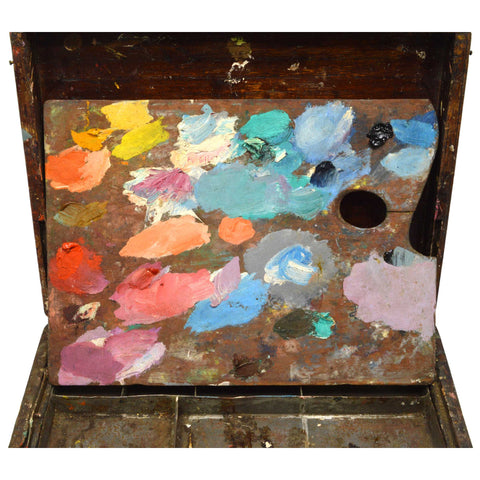 Antique ARTIST'S PAINTERS BOX Hardwood w/ Metal ORIGINAL PAINTED PALETTE Patina!