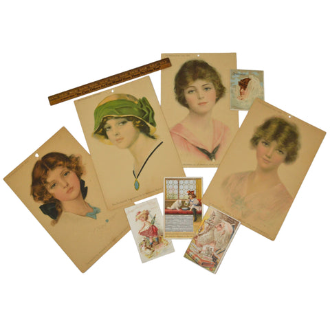 "Antique Advertising ""PRUDENTIAL GIRL"" PORTRAIT PRINTS c1914 + Lot of TRADE CARDS"