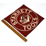 "Vintage ""STARRETT TOOLS"" CLOTH SWATH 11""x11"" Black Frame LOGO ON FABRIC Unusual!"