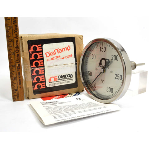 "New in Box OMEGA ENGINEERING ""DialTemp"" METAL THERMOMETER Mo. J-0-300C, 4"" STEM"