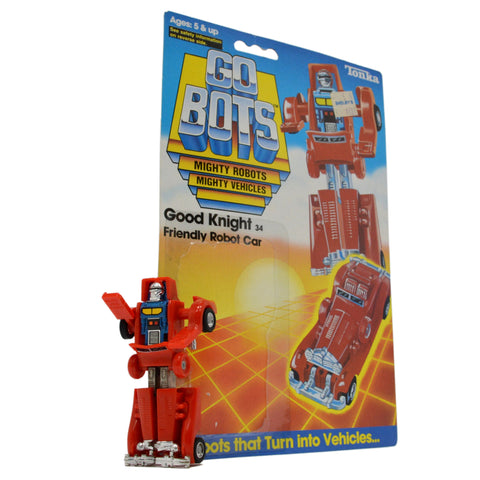 "Vintage TONKA GOBOTS ""GOOD KNIGHT"" #34 Friendly Robot RED CAR + Orig. CARD-BACK!"
