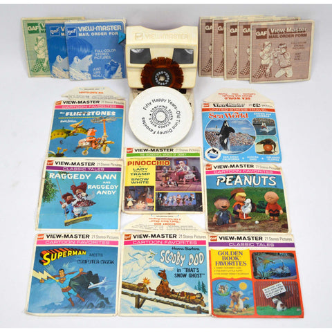 Vintage VIEW-MASTER VIEWER & REEL Lot of 16 Sets + EXTRAS! Scooby-Doo SUPERMAN +