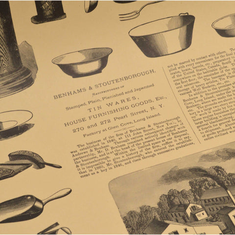 "Vintage ""BENHAMS...TIN WARES"" ADVERTISING PRINT Housewares WENTWORTH PRESS, 1971"