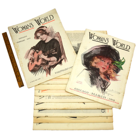 "Antique ""WOMAN'S WORLD"" BACK-ISSUE MAGAZINE Lot; 11 Issues from 1912 w/ 9 COVERS"