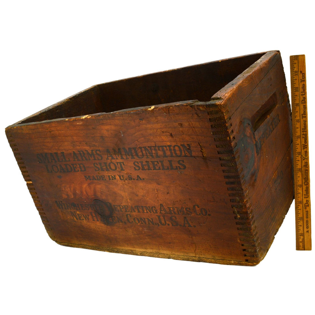 Vintage WINCHESTER WOOD AMMO CRATE 15x10x9 Repeater SMALL ARMS AMMUNITION Patina