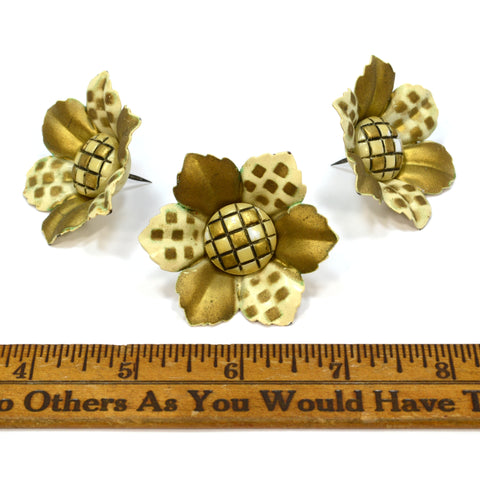 Vintage OVER-SIZED FLORAL PUSH PIN Lot of 3 GOLDEN FLOWER TACKS Curtain Tie-Back