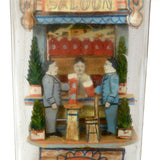 Antique UNSIGNED CARL WORNER Whimsy FOLK ART SALOON IN A BOTTLE Hidden Man RARE!